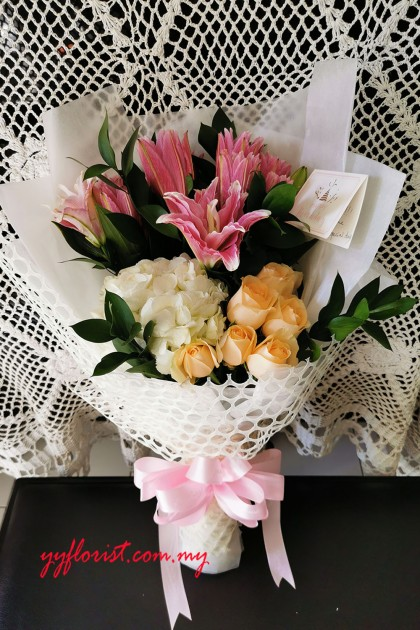 Lily & Hydrangeas Flower Bouquet